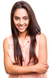 Ethnic woman posing. Beautiful ethnic woman posing over white background Royalty Free Stock Photography