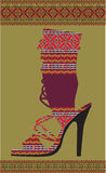 Ethnic woman shoe. Beautiful colorful woman shoe illustration. Made in adobe illustrator Royalty Free Stock Photography
