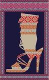 Ethnic woman shoe. Beautiful colorful woman shoe illustration. Made in adobe illustrator Stock Photography