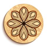 Ethnic Wooden Plate. Isolated on White Stock Image