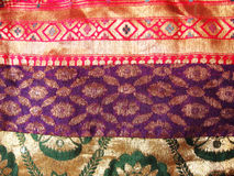 Ethnic work on Silk Fabric. A colorful silk fabric with traditional Indian ethnic work on it Royalty Free Stock Photos