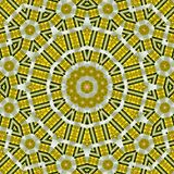 Ethnic yellow mandala ornament with hexagonal elements of tile. Yellow mandala ornament with hexagonal elements of tile vector illustration