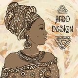 Ethnic young african  woman portrait on grangebackground . Vector illustration. Afro design Stock Image