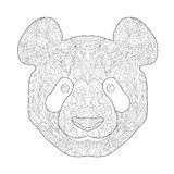 Ethnic Zentagle Ornate Hand Drawn Panda Head. Black and White Ink Doodle Vector Illustration. Sketch for Tattoo, Poster, Print or Stock Images