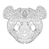 Ethnic Zentagle Ornate Hand Drawn Panda Head. Black and White Ink Doodle Vector Illustration. Sketch for Tattoo, Poster, Print or Royalty Free Stock Image