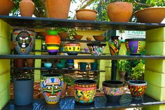 Ethnical pottery in market stock image