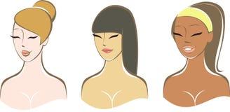 Ethnically Diverse Girls. Three portrait of ethnically diverse Girls vector illustration