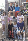 Ethnically diverse group of children in a city park, Chicago, IL Stock Images