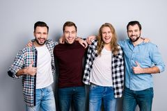 Ethnicity diversity proud respect virility fashion entertainment. Rest relax recreation concept. Friendly cheerful excited pals, checkered outfit, gesturing Stock Photos