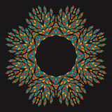 Ethnicity floral  round ornament on the black background . Royalty Free Stock Photo