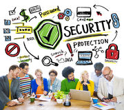 Ethnicity People Brainstorming Security Protection Concept.  Royalty Free Stock Image