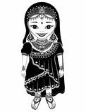 Ethnicity race . Indian girl character. graphic drawing patterns. Royalty Free Stock Images