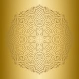 Ethnicity round lace ornament. Gold background. Light, shiny, glow mandala in ethnic style. Oriental circular golden pattern Stock Photography