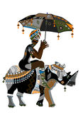 Ethnics. Woman in ethnic style with an umbrella in his hand on his back rhino Stock Photo
