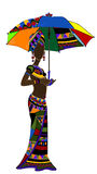 Ethnics. Ethnic young woman with an umbrella in hand Stock Images