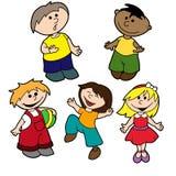 Ethnisch gemischte des Vektors gesetzte und ethnische Kinder Stockbilder