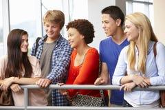 Ethnisch gemischte Studentengruppe, die zuhause plaudert Stockbild