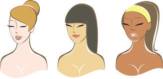 Ethnisch verschiedene Mädchen vektor abbildung