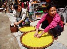 Ethnische Frauen Dongs behandelten mit Reis auf einer Straße Zhaoxing Dong Village. Gelber Reis wird in den großen Weidenkörben ge Lizenzfreies Stockbild