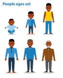 Ethnische Leute des Afroamerikaners Generation des Mannes Alle Alterskategorien Getrennt auf weißem Hintergrund flach Stockfotos