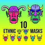 Ethnische Maskenvorlage des Druckes Farb vektor abbildung