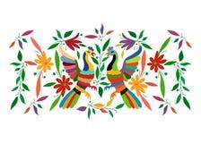 Ethnische mexikanische Tapisserie mit der Stickerei mit Blumen und den Pfaudschungeltieren handgemacht Volksdekorationen des naiv stock abbildung