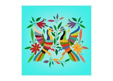 Ethnische mexikanische Tapisserie mit der Stickerei mit Blumen und den Pfaudschungeltieren handgemacht Volksdekorationen des naiv lizenzfreie abbildung