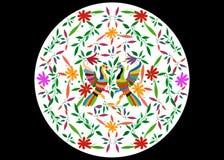 Ethnische mexikanische Tapisserie mit der Stickerei mit Blumen und den Pfaudschungeltieren handgemacht Volksdekorationen des naiv vektor abbildung