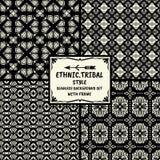 Ethnische Modellserie des nahtlosen abstrakten Vektors im Monochrom Stockfotos