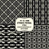 Ethnische Modellserie des nahtlosen abstrakten Vektors im Monochrom Stockbilder