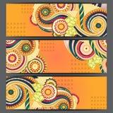Ethnische Muster-Karten mit Paisley, Gekritzel Stockfoto