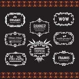 Ethnische Stammes- Art der Gekritzelvektorrahmen-Sammlung Stockbilder