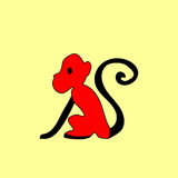 Ethnische Verzierung des roten Affen des Schattenbildes Stockbilder