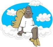 Ethnischer Engel, der auf Wolke 9 sitzt Stockfotos