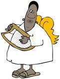 Ethnischer Engel, der eine Harfe spielt Lizenzfreies Stockbild