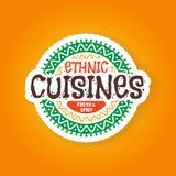 Ethnischer Kücherestaurantausweis Stockfotos