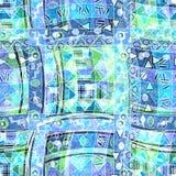 Ethnischer nahtloser Hintergrund Boho Stammes- Kunst boho Druck, Verzierungsgrenze Weißer Innenraum mit geschlossener Tür und Fel lizenzfreie abbildung