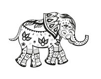 Ethnischer verzierter Babyelefant Stockfotos