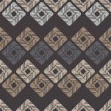 Ethnisches boho nahtloses Muster Handausbrüten Traditionelle Verzierung Geometrischer Hintergrund Kleine Verzierung mit Quadraten Stockbild
