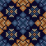 Ethnisches boho nahtloses Muster Traditionelle Verzierung Geometrischer Hintergrund Stammes- Muster Kleine Verzierung mit Quadrat stock abbildung