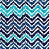 Ethnisches geometrisches Sparrenmuster blauer und weißer ikat Zusammenfassung, Vektor stock abbildung