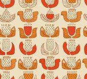 Ethnisches Muster mit dekorativen Blumen, den Knospen und den Blättern Endloser Hintergrund mit dekorativen gebürtigen Elementen Lizenzfreies Stockfoto