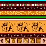 Ethnisches Muster mit Elefanten Stockfoto