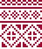 Ethnisches nahtloses Muster in den roten und weißen Farben Stockbilder
