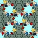 Ethnisches nahtloses Muster der Stickerei mit Rosen und Fantasie blüht  stock abbildung