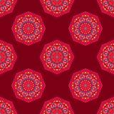 Ethnisches nahtloses rundes Muster mit Dreiecken Stockfotografie