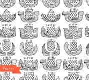 Ethnisches Schwarzweiss-Muster mit verschiedenen Blumen, den Knospen und den Blättern Endloser Hintergrund Lizenzfreie Stockbilder