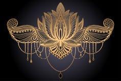 Ethnisches Symbol Lotus-Blume Goldsteigungsfarbe im schwarzen Hintergrund Tätowierungsentwurfsmotiv, Dekorationselement Zeichen-A vektor abbildung