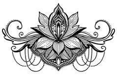 Ethnisches Symbol Lotus-Blume Schwarze Farbe im weißen Hintergrund Tätowierungsentwurfsmotiv, Dekorationselement Asiatische Geist vektor abbildung