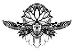 Ethnisches Symbol Lotus-Blume Schwarze Farbe im weißen Hintergrund Tätowierungsentwurfsmotiv, Dekorationselement Asiatische Geist stock abbildung
